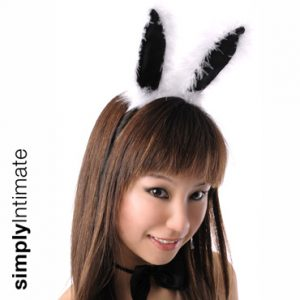 Playgirl Bunny marabou fur trim headband with choker & tail set