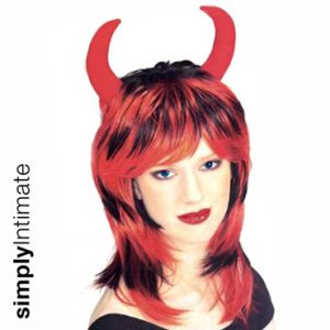 Hot Devil streaked crop wig with devil horn