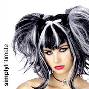 Gothic lolita black pigtails wig with white highlights
