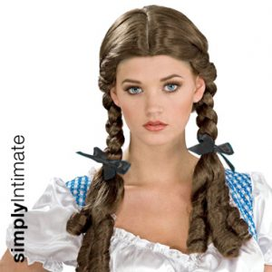 Dorothy braided wig with curls & ribbon ties