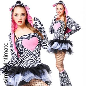 Ziggy Zebra faux fur bandeau mini dress with hoodie shrug set