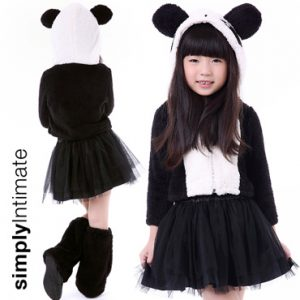 Junior Panda Baby faux fur hoodie top with tulle skirt set