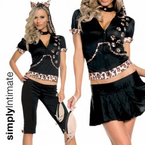 Flirty Feline crop top with hoodie 2-in-1 set