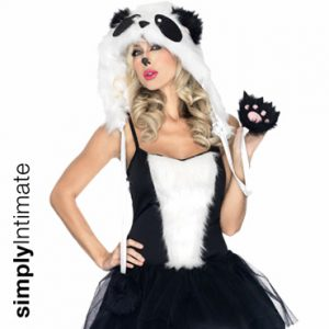 Panda Babe fur trim puffy dress with hood