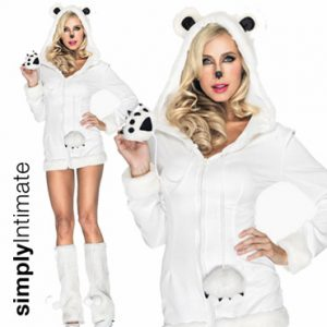 Beary Cool hooded mini dress with leg warmers