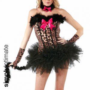 Carousel leopard bandeau mini dress with marabou fur trim
