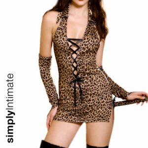 Flirty Kitty stretch leopard print mini dress with gloves set