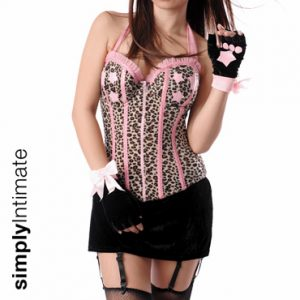 Flirty Kitty halter underwired bustier & mini velvet skirt set