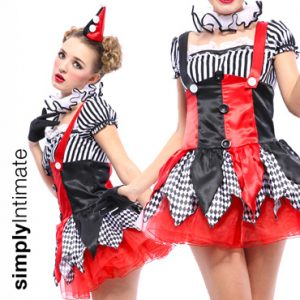 Harley Quinn Jester satin dress with contrast prints & glovelette set