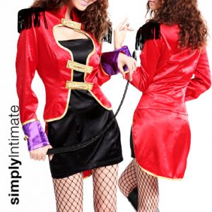 Ringmaster Hottie satin bandeau dress with jacket set