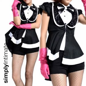 Tap Tuxedo Girl peplum jacket with halter top & boyshorts set