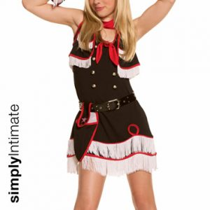 Junior Cowgirl Cutie stretch fringed dress with vest, gloves & hat set