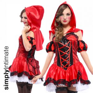 Lil' Riding Hood bustier sequin dress with satin capelet set