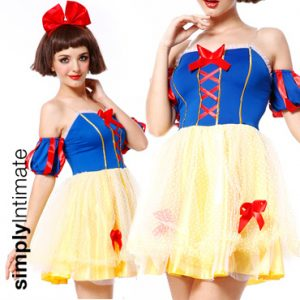 Snow White Cutie stretch bandeau dress with puffy dotted tulle skirt set
