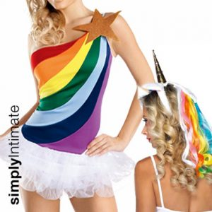 Rainbow Brite toga mini dress with bubble skirt & unicorn headband