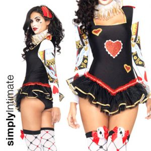 Sultry Poker Card Guard playsuit with ruffle trim set