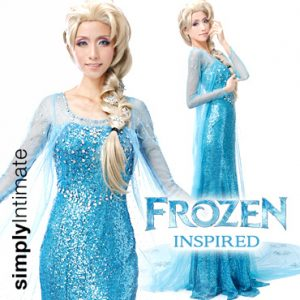 Frozen Inspired Elsa sequined fishtail gown with sheer long cape