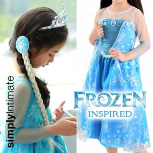Frozen Inspired Junior Elsa dress with cape with hair accessories set