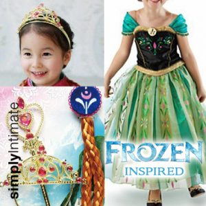 Frozen Inspired Junior Anna dress with hair accessories set