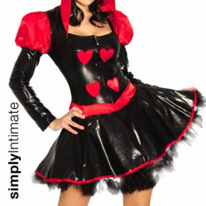Queen of Hearts hi-gloss zipper front mini dress