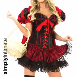 Lil' Sexy Riding Hood corset, bolero & skirt set