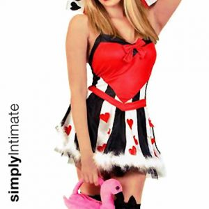 Queen of Hearts satin mini dress with high collar & fur trim