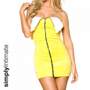 Fruity Cutie Banana velvet mini bandeu dress