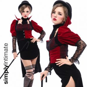 Countess velvet lace dress with high collar, coat tail & stockings set