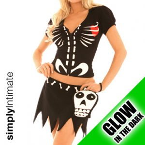 Spooky Bones glow in the dark crop top with hoodie 2-in-1 set