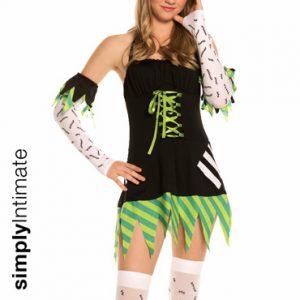 Junior Frankie Monster Mistress halter mini dress with hat, gloves & stockings set