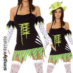 Frankie Monster Mistress halter mini dress with hat, gloves & stockings set