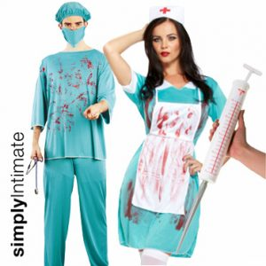 Bloody Surgical Couple costume set with jumbo syringe
