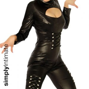Sultry Batwoman hi-gloss long sleeve jumpsuit set