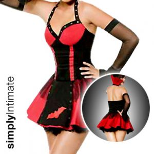 Vampish Seductress halter bustier dress with high collar