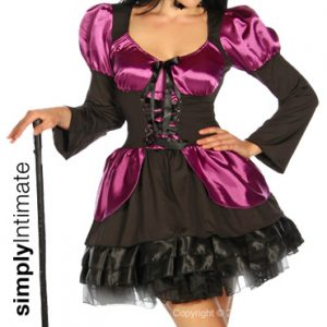 Wickedly Sexy Witch satin lace-up dress & hat