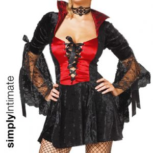 Gothic Vamp velvet lace-up dress set with stockings