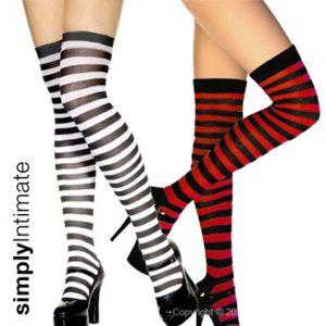 Striped thigh high cotton socks
