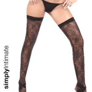 Sheer spider web thigh high stockings