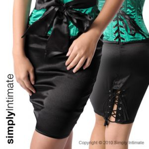 Satin pencil skirt with lace-up back hem