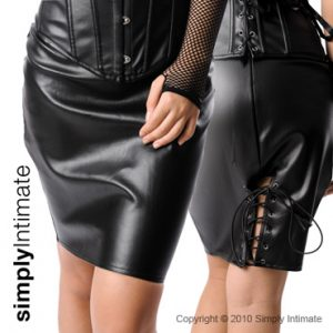 PVC leather pencil skirt with lace-up back hem