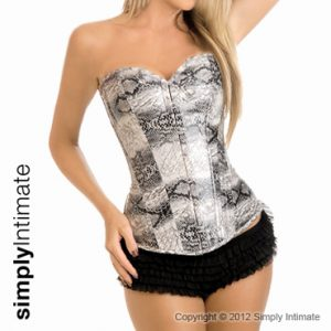 Fitted vinyl faux snake skin corset