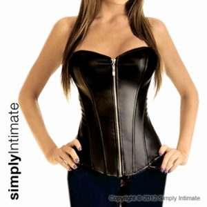 Fitted PVC leather corset with zipper front