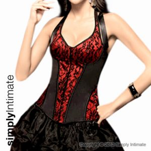 Fitted halter underwired satin lace overlay corset