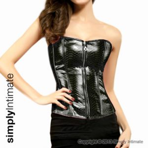 Fitted PVC leather corset top