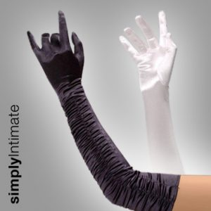 Classy stretch ruched satin gloves- Long
