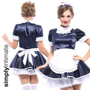 French Maid Cutie satin puffy mini dress with apron set