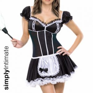 French Maid Cutie stretch satin mini dress with lace trim