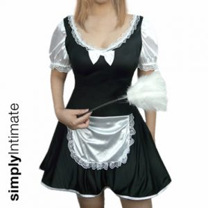 French Maid Cutie mini dress with lace-up back & duster