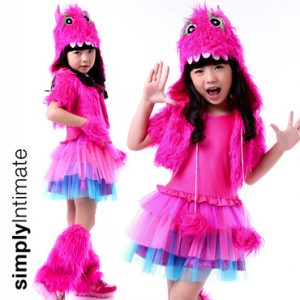 Junior Fuzzy Wazzy Monster tulle dress with hoodie shrug set