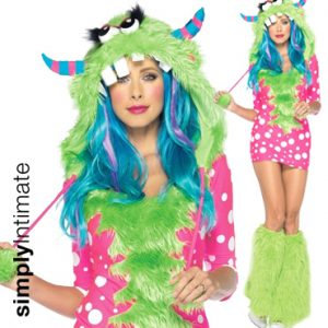 Fuzzy Polly Monster polka dot mini dress with furry hood & leg warmer set